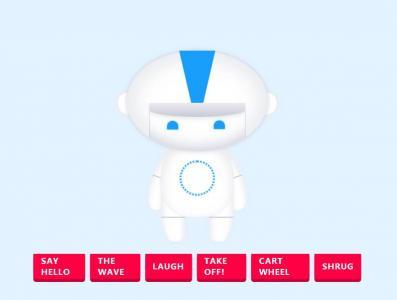 react.js前端开发框架实现鼠标点击按钮机器人执行动作动画场景