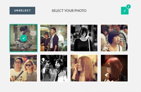 可选择多张图片的HTML5 CSS3图片选择动画插件