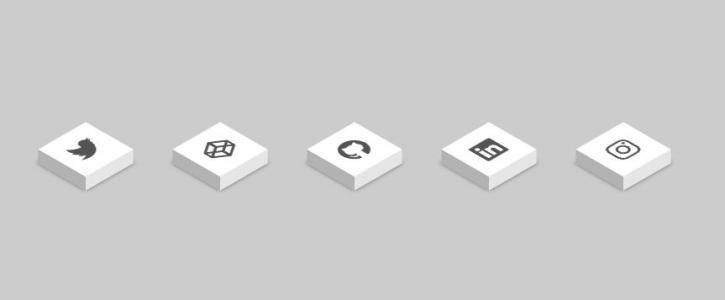 icon图标素材设计与制作纯CSS3样式选择器绘制3D方块图标鼠标滑过凸显展示效果