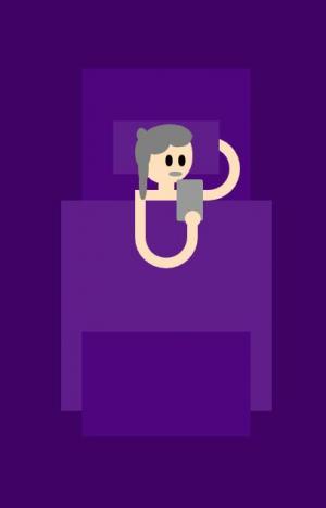 卡通人物图像动画设计效果动画属性CSS3绘制躺在床上看手机人物特效代码
