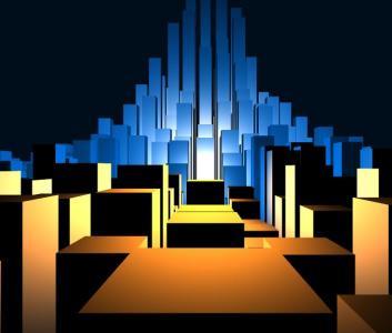 全屏网页动画大全JS特效代码与CSS绘制3D城市建筑图像效果