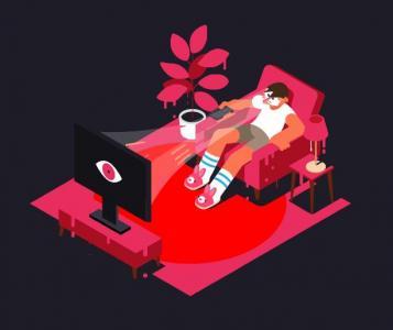 人物动画设计与制作网页标签代码HTML5设计SVG看电视场景动画特效