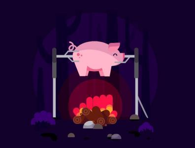 网页动画设计与制作网站标签代码HTML5与CSS设计制作卡通烤猪图像效果