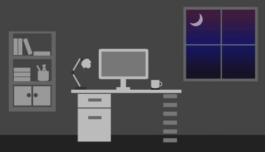 HTML5创意卡通图像布局样式效果纯CSS3绘制夜晚书房电脑桌布局特效代码
