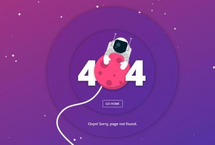 创意大气网站模板制作与下载HTML排版设计太空宇航员404网页静态页面