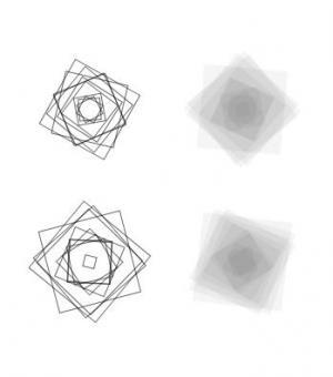 网页特效canvas画布绘制线性正方形图像旋转叠加效果