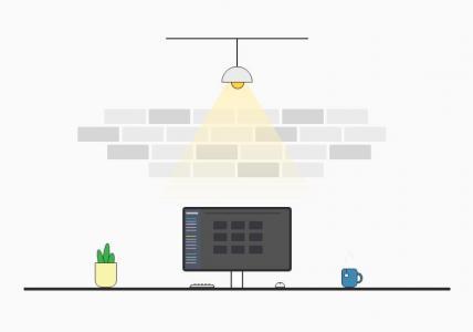 标签网页代码HTML5和CSS设计办公室室内布局场景效果