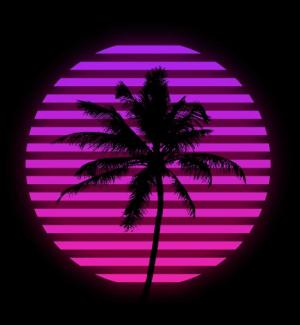 动画设计代码JS和CSS选择器样式绘制创意月圆下椰子树图像场景效果