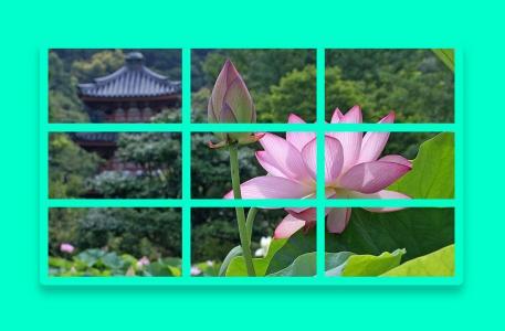 图片网站素材设计与制作JS代码实现九宫格图片展示鼠标点击动态切换效果