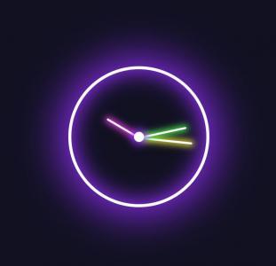 免费素材下载网站JS时间代码和CSS3制作创意发光圆形时钟