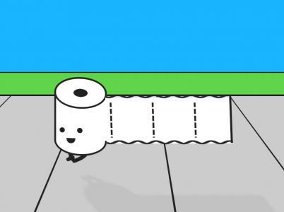 创意卡通动画设计与制作CSS动画属性绘制卷纸人物奔跑场景动画