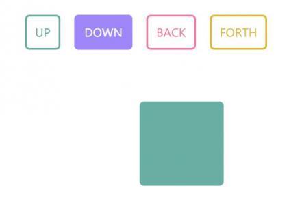 网页动画制作代码CSS3设计鼠标点击按钮动画方向移动效果
