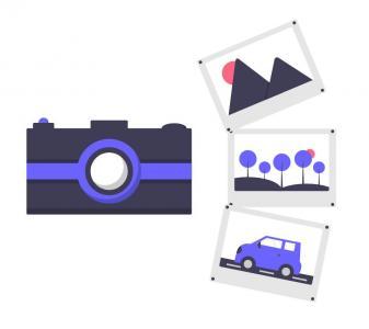 图片素材网站H5标签样式表设计卡通相机拍照图像效果