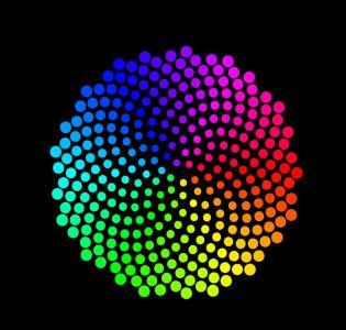 HTML颜色标签设计制作绚丽渐变粒子群圆形图形样式代码