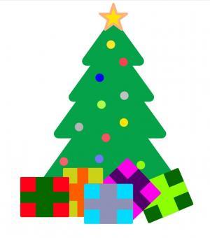 卡通图画素材设计代码H5和CSS样式绘制简单卡通圣诞树图像