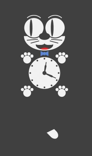 卡通图像制作网站代码CSS和JS设计创意花猫时钟画像摇摆动画特效