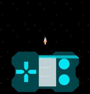HTML5网页游戏制作代码vue.js设计简单火箭在太空飞行场景小游戏