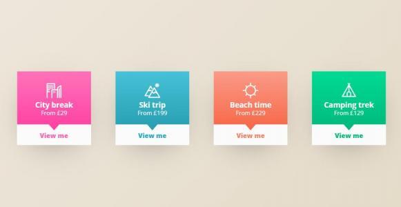HTML5平面素材网站制作效果CSS3美化设计平面卡片鼠标滑过卡片翻开特效