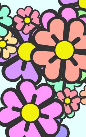 卡通图案设计网站代码JS和CSS特效绘制不同色彩的花朵图像样式