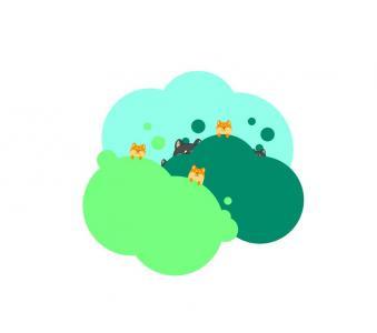 H5设计素材网站大全CSS选择器代码设计深山中卡通狼群动画图像
