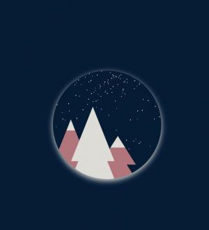 创意卡通动画图像UI设计CSS网页代码设计圆形夜间下雪卡通动画场景