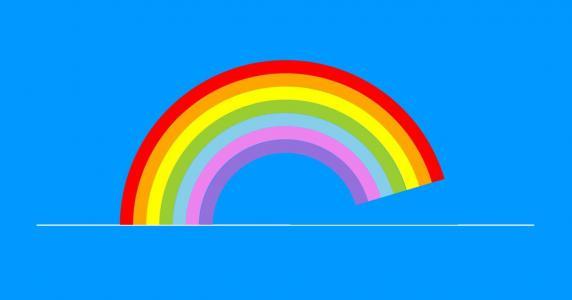 CSS3动画设计与制作HTML标签特效代码绘制简笔画彩虹桥滑动展示效果