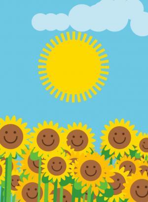 动画背景图像设计代码canvas画布设计太阳旋转的卡通向日葵动画图像