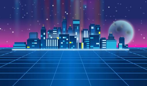 炫酷卡通图像设计效果HTML网页代码设计华丽城市卡通图像素材网站大全