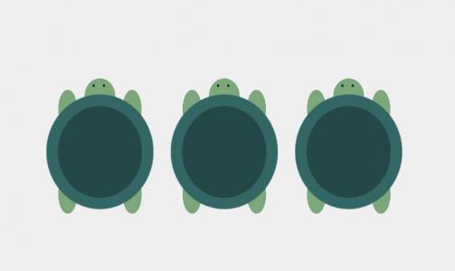 卡通动物绘制大全HTML5平面设计素材网站CSS设计卡通小乌龟画像