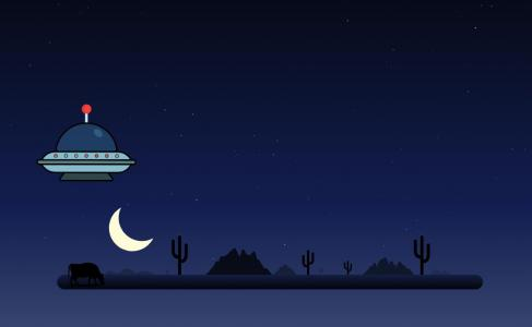 动画素材网站网页动画设计与制作CSS和H5设计简单夜间UFO飞行效果