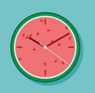 网站创意时钟设计与制作HTML素材网页代码设计圆形西瓜时钟样式