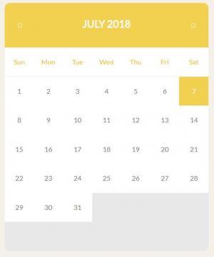 网页日期代码布局制作带年份的大气黄色风格日历表