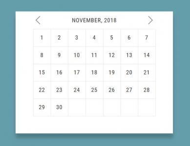 纯css3设计制作带阴影点击可收缩展开的网页日历代码html网站素材大全下载