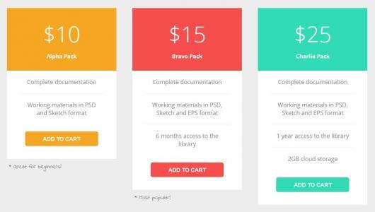 html5网页定价表设计与制作css3布局排版商品定价表卡片样式代码