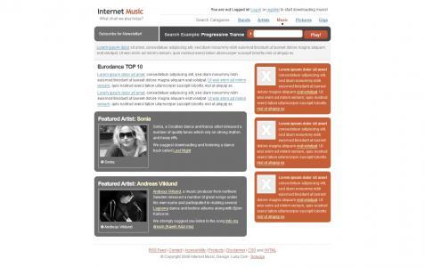 网页模板素材大全个人博客音乐类型网站模板免费下载
