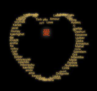 d3.js代码通过单词绘制爱心边缘旋转动画效果js网页特效代码