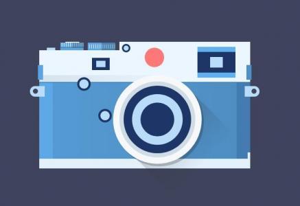 HTML标签网页代码与纯CSS3绘制卡通相机网页素材免费下载