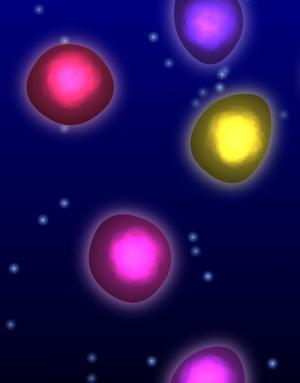 网页背景特效代码canvas画布绘制七彩粒子游动动画效果