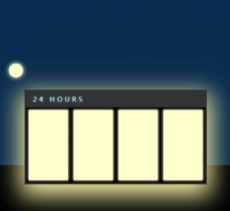 纯css3制作便利店24小时营业场景动画效果html网站素材下载