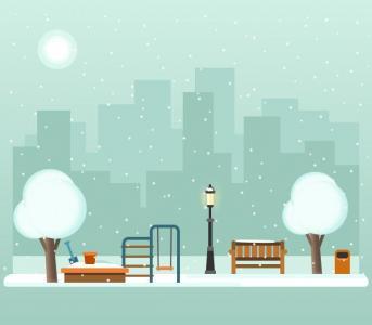 CSS3卡通素材设计代码HTML网页样式表制作城市卡通夜间飘雪动画特效
