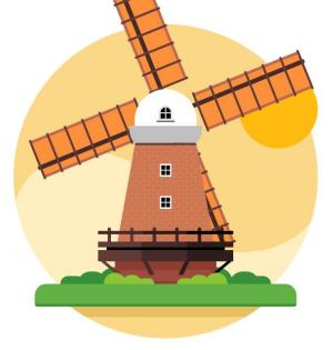 CSS3圆角动画属性绘制卡通大风车旋转动画效果网页动画素材下载网站