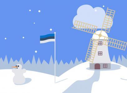 纯CSS3制作雪天气场景中大风车旋转动画效果网页卡通素材设计