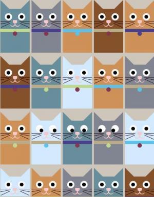 react代码和HTML标签网页样式表制作小猫咪图案鼠标滑动动画效果