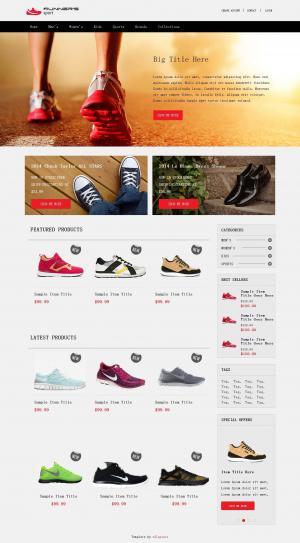 大气简约运动鞋商城展示网站免费模板