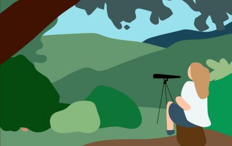 网站卡通图像动画设计与制作纯CSS3绘制卡通人物正在观望大自然场景动画效果