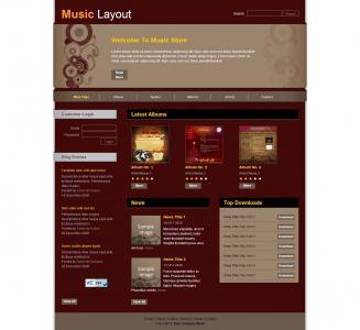 大气音乐网站静态模板网站免费素材