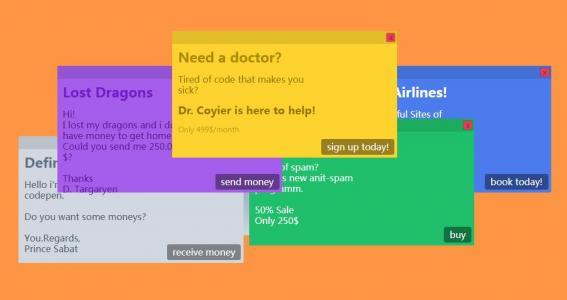 jquery特效代码与HTML5制作鼠标可拖拽的带各种背景颜色的提示框