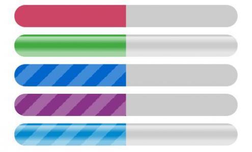 纯CSS3动属性样式设计制作5款不同背景动画效果的进度条