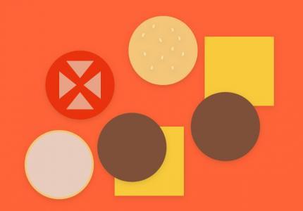 CSS几何图形和js代码实现通过鼠标点击汉堡拆分组合图像样式效果