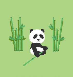 CSS动画设计代码与js特效绘制可爱大熊猫正在吃竹子图像效果